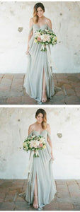 A-Line Off-Shoulder Backless V-neck sexy Bridesmaid Dress with Pleats, Romantic Bridesmaid Dress, Classic Wedding, Chic Wedding,F0415