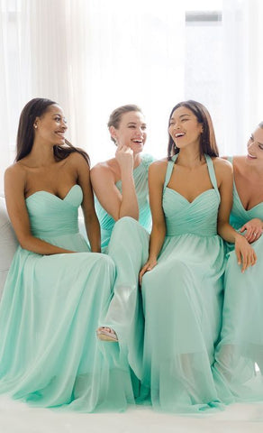 Sweetheart/V Neck/One Shoulder or Halter Mint Green Chiffon Long Bridesmaid Dress , F0417
