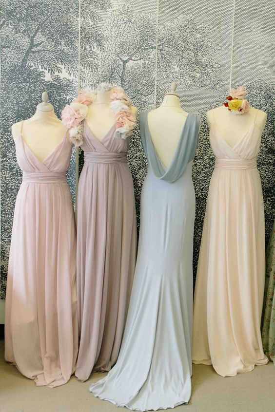 Elegant chiffon v-neck floor-length bridesmaid dress,long prom dresses,F0418