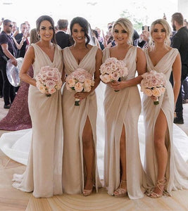 Sheath V Neck Open Back Champagne Split Long Bridesmaid Dresses with Train , F0422