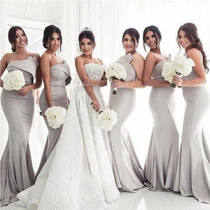 Simple Sexy Grey Mermaid Long Bridesmaid Dresses Online , F0424