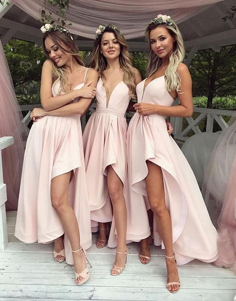 Simple V-Neck Pink High Low Prom Dress,Bridesmaid Dress,Elegant Evening Dress,Evening Gown,Prom Formal Dress , F0427