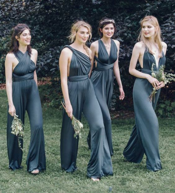 Sexy Convertible Jumpsuit Bridesmaid Dresses for Wedding , F0429