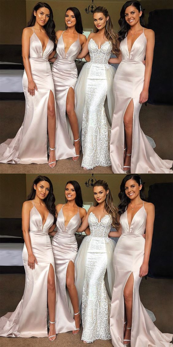 Elegant Sexy Spaghetti Strap Shinning Split Mermaid Long Bridesmaid Dresses, F0430
