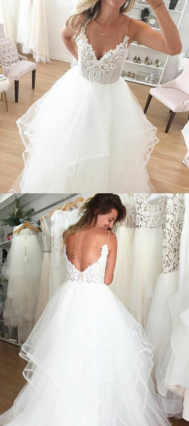 Spaghetti Straps Backless White Wedding Dress with Lace, unique v neck dream wedding dresses, dream backless lace top bridal gowns , F0432