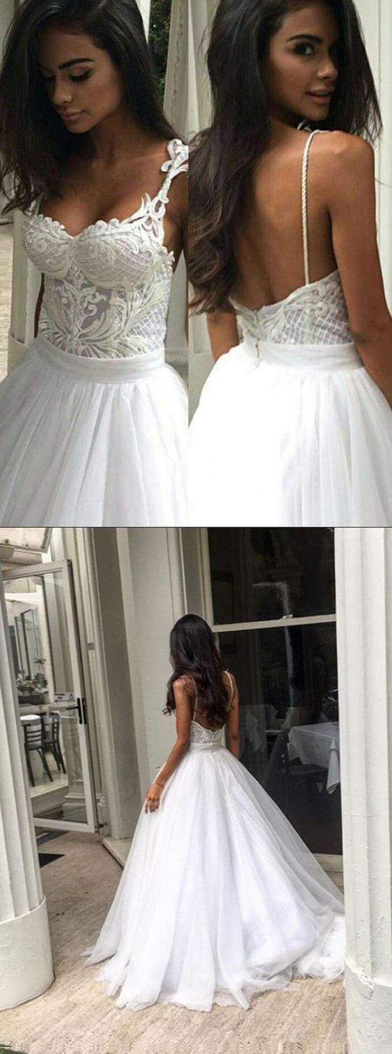 Elegant Sweep Train Backless Wedding Dress Lace Top Spaghetti Straps, F0435