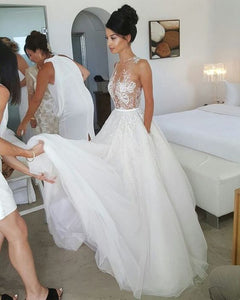 White Wedding Dress,Tulle Wedding Dresses,See Though Wedding Dresses, F0437