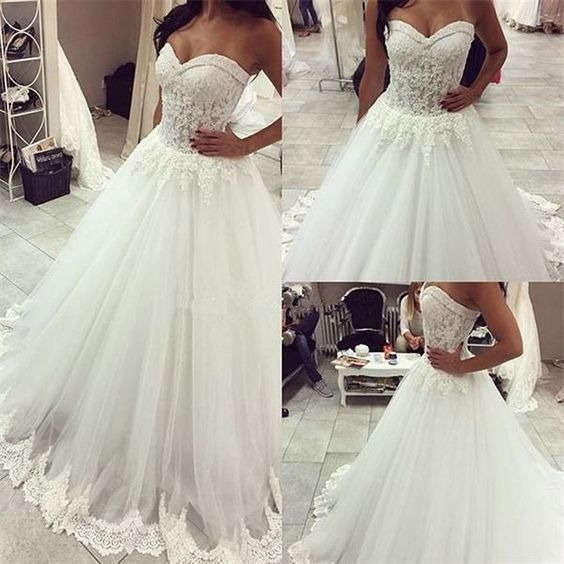 Long A-line Sweetheart Lace Top Tulle Bridal Gown, Wedding Party Dresses, F0438