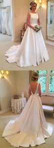 Backless A-line Satin Wedding Dress Bridal Dresses, F0439