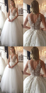 Long Ivory Wedding Dresses With Applique Zipper Floor-length Appealing Wedding Dresses, F0441