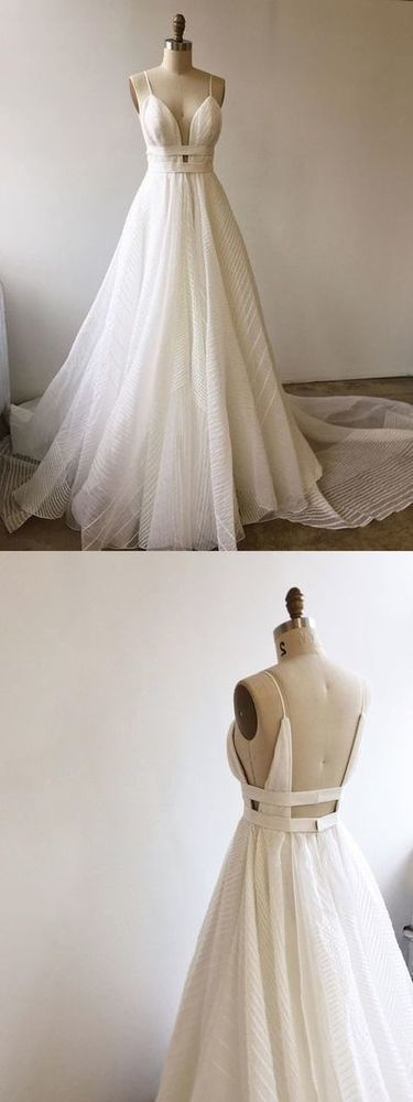 A-line Straps Long Wedding Dress, Gorgeous Wedding Dress, Ball Gown,White Long Wedding Dress with Train , F0446