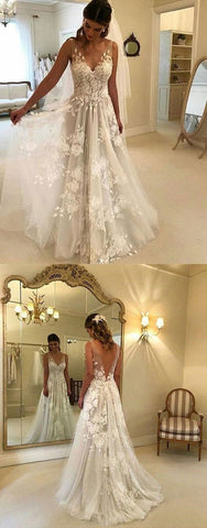 White V-Neck Lace Tulle Wedding Dress,Charming Prom Dress , F0448