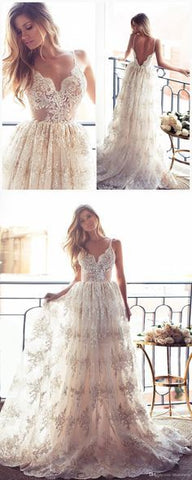 Romantic A-line Strapless Long Lace Wedding Dress, F0451