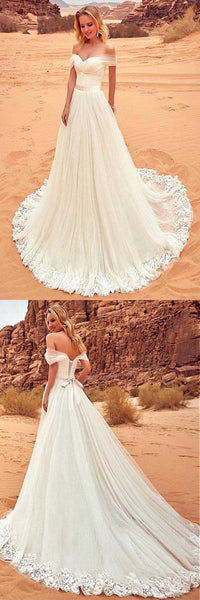 Tulle Off-the-shoulder Neckline Wedding Dress With Lace Appliques , F0463