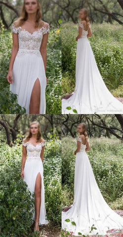 Custom New Arrival Wedding Dresses, Bridal Dresses, Lace Off Shoulder Slit Wedding Dress , F0465