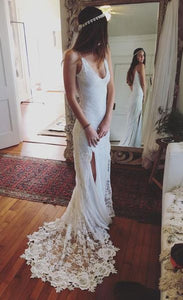 V-neck Spaghetti Straps Beach Wedding Dress,Side Slit Lace Bridal Dress,Prom Dress , F0472