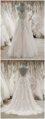 Spaghetti Strap V Neck Beach Wedding Dresses Beaded Bodice Wedding Dress , F0475