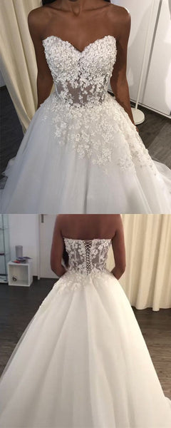 Lace Appliques Sweetheart See Through Corset Tulle Wedding Dresses, F0449