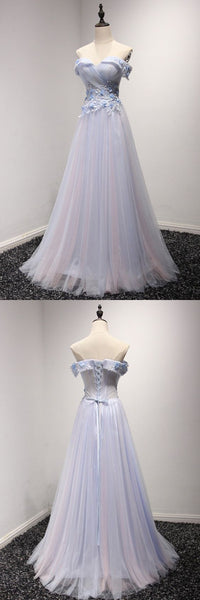 Off The Shoulder Tulle Prom Dress Long In Two Tune Colors , F0485