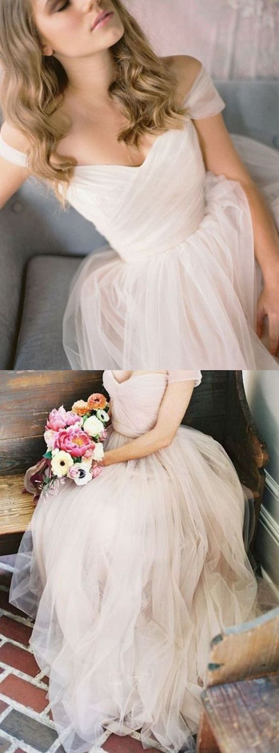 Simple champagne tulle long prom dress, tulle wedding dress , F0491