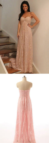 Strapless Prom Dress, Pink Party Dress, Lace Prom Dress For Teens, F0492
