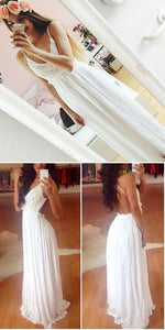 Hot Sales White Lace Backless Prom Dresses,Spaghetti Straps V Neck Long Evening Dress Prom Gowns,Open Back A Line Cheap Fashion Prom Party Dress , F0493