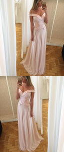 Off Shoulder Long Prom Dress, Waist Lace Appliques Prom Dress, Charming A-Line Prom Dress, F0494