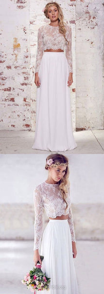 Two Piece Prom Dresses Long Sleeve, Long Prom Gowns White, 2019 Formal Party Dresses A-line Scoop Neck, Lace Evening Gowns Chiffon Ruffles Modern, F0497