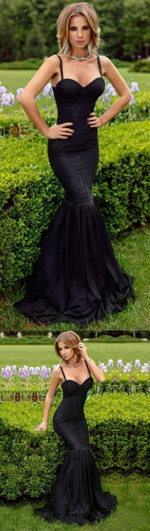 spaghetti straps long prom dress mermaid lace black sleeveless evening dress, F0499