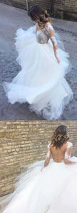 Open Back Inexpensive Long Sleeves Lace Long Bridal Wedding Dresses, F0511