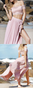 Two Piece Off the shoulder Pink Long Boho Prom Dress with Side Slit , F0515