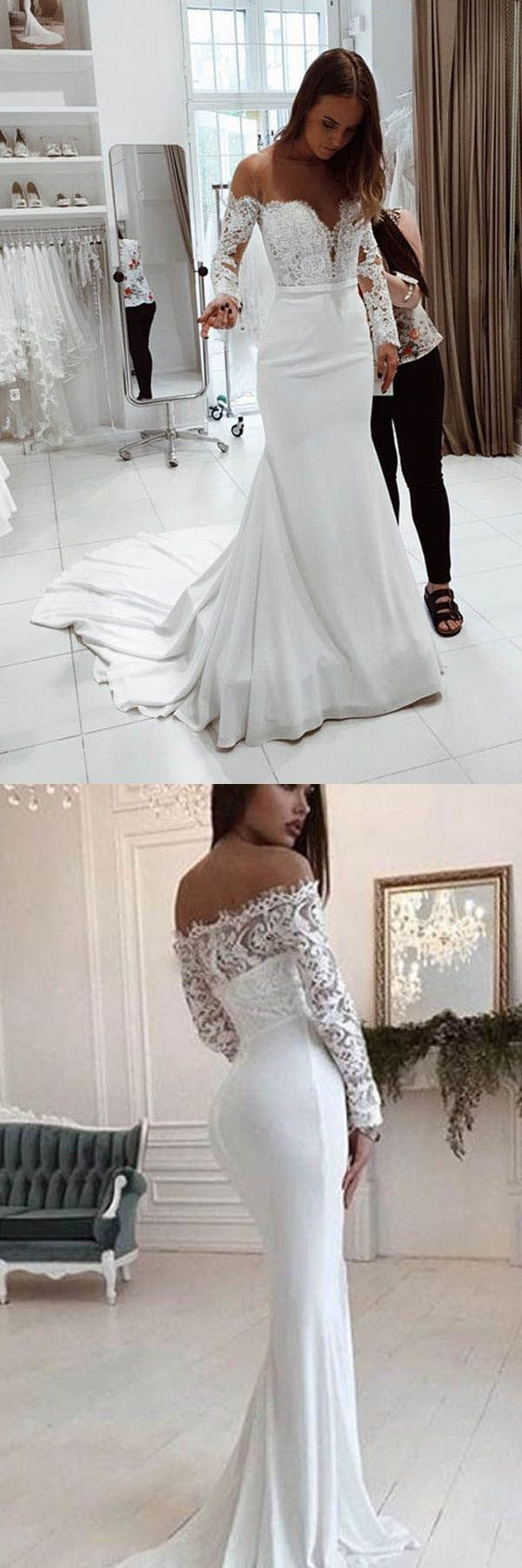Long Sleeves Off the Shoulder Mermaid Bridal Long Wedding Dresses, F0516