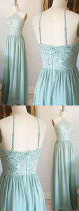 Modern Prom Dresses Chiffon, Lace Bridesmaid Dress, A-Line Bridesmaid Dress, F518