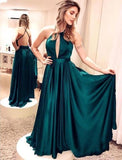 Green Satin Prom Dresses Long A-line Sexy Party Dresses Backless Evening Dresses Formal Gowns, F0519