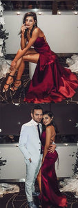 V Neck Burgundy Satin Long Prom Dresses with Split Front Backless, F0520