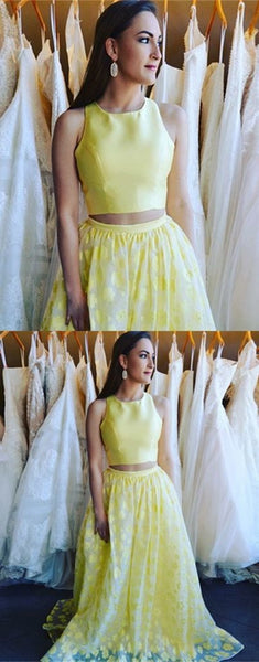 Gorgeous Two Piece Round Neck Sleeveless Floor-Length Daffodil Printed Prom Dress, F0523
