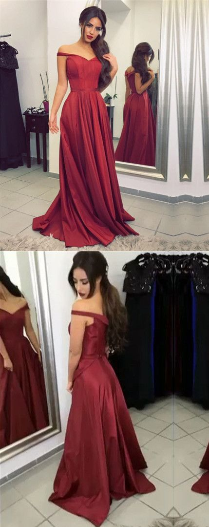 Off the shoulder Burgundy Long Prom Dress Formal Evening Dress, F0525