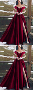 Burgundy Satin V-neck Long Prom Dress,Split Evening Gown,Elegant V-neck Off The Shoulder Long Dress,Cheap Prom Dress,Formal Dress, F0526