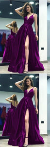 Grape Satin V-neck Prom Long Dresses Leg Split Evening Gowns With Straps, F0529