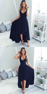 High Fashion A-Line V-Neck High-Low Navy Blue Long Prom Dress, F0530