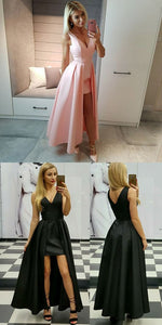 simple v-neck prom party gowns, chic pink evening dresses, fashion party formal dresses., F0534