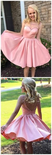 Pink Illusion Cute Pink Short Cheap Homecoming Dresses Online , F0537