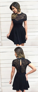 A-Line Round Neck Short Sleeves Black Satin Short Homecoming Dress with Lace , F0539