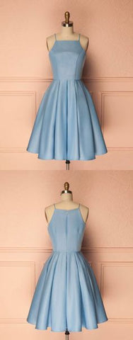 cute short blue prom dress, cute homecoming dress, blue bridesmaid dress, F0544