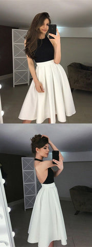A-Line Halter Backless Tea-Length Ivory Homecoming Prom Dress, F0549