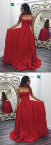 Sexy A-Line Prom Dress, Long Prom Dress, Red Evening Dress Prom Gowns, Spaghetti Straps Formal Dress, Prom Dress , F0552
