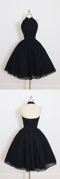 Black Chiffon Prom Dress,Halter Homecoming Dress,Short Prom Dresses , F0553