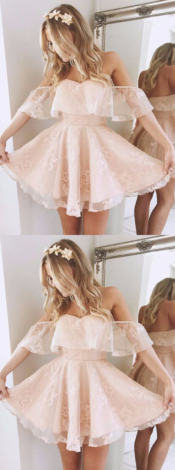 A-Line Off-the-Shoulder Short Pearl Pink Lace Homecoming Dress , F0555