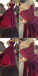 A-Line Sweetheart Sweep Train Burgundy Satin Prom Dress with Lace Beading, F0556