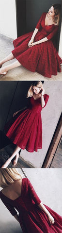 Half Sleeves Burgundy Homecoming Dress With Lace V Neck Short Prom Dress , F0557